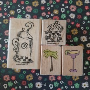 Set of 4 coffee/margarita rubber stamps